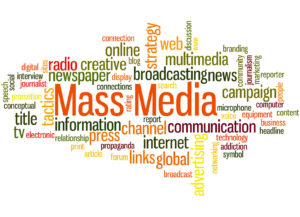 Mass Media, word cloud concept on white background.